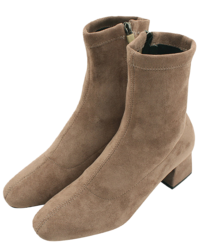 Suede socks middle heel ankle boots beige