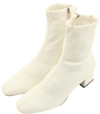 Span Sox Full Heel Middle Heel Ankle Boots White