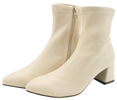 Stiletto Span Middle Heel Ankle Boots Beige