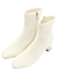 Square nose span middle heel ankle boots 6cm beige