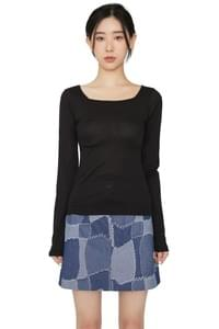 Rising square-neck casual top