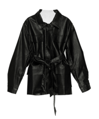 Loose leather belted jacket