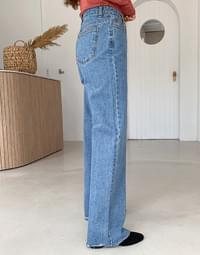 Word Roll Up Denim Pants