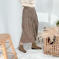 Muffin pleated long skirt