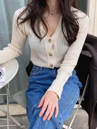 Lily Button Ribbed Knitwear