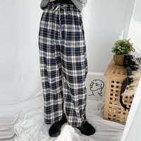 Vintage check wide trousers