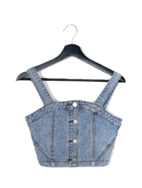 Denim button two-piece SET