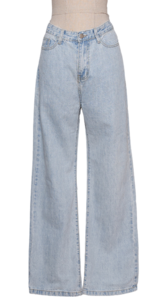 Vintage Light Blue Date Wide Denim Long Jeans 2 Color