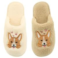 Puppy embroidered fur slippers