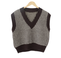 Bagel Check V Neck Knit Vest