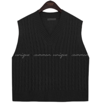 Basic V-Neck Twist Knit Vest