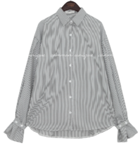 BILLIT PINTUCK UNBAL STRIPE SHIRTS