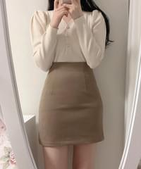 Raised cotton*crople H line basic skirt