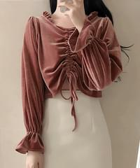 String velvet crop blouse