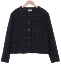 Vintage check no-collar jacket