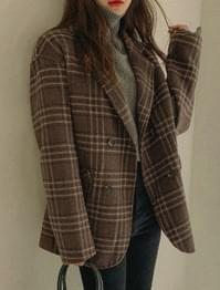 Margarine Handmade Check Wool Jacket