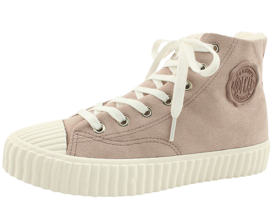 Fleece high-top canvas trainers beige