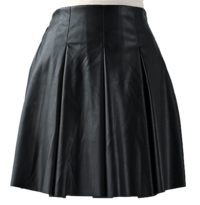 Leather pleated banding skirt