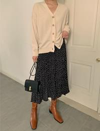 Polka dot banding long skirt