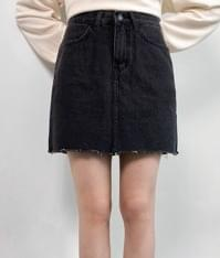 620 black blue denim skirt