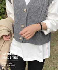 Layered long-sleeved T-shirt * Fleece-lined ver. added