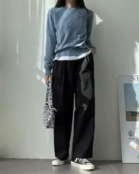 Chelson pintuck wide cotton trousers