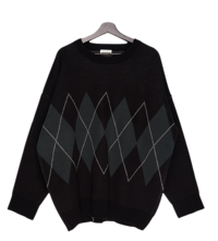 Double argyle overfit knit