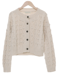 Pom Foam Cable Crop Wool Cardigan