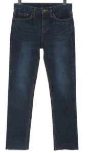 Raised Slim Straight Denim Pants