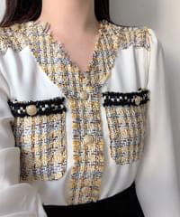 Tef tweed color pocket blouse