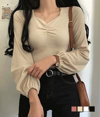 Enzy shirred ribbed sleeve banding cropped T-shirt