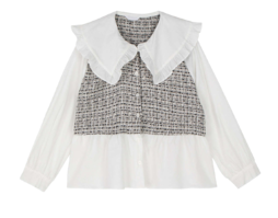 Lia frill tweed blouse