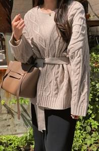 Cable belt cardigan
