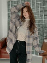 Creamy loose-fit cotton check shirt