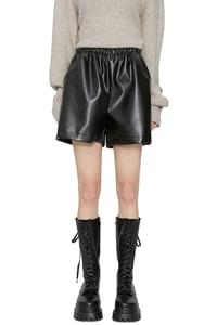 Aude Banding Leather Mini Shorts