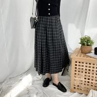 Choco Check Pleated Long Skirt