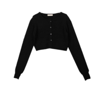 Cropped signature knit cardigan