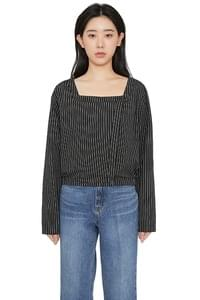 Tanger stripe cropped blouse