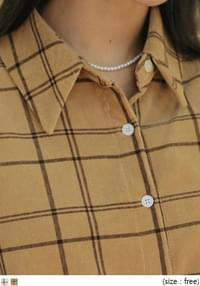Button-Up Check Blouse
