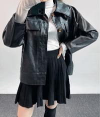 Leatherette Boxy Jacket