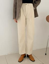 Flat corduroy pintuck wide pants