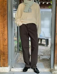 Cocoa Fleece-lined wide pants