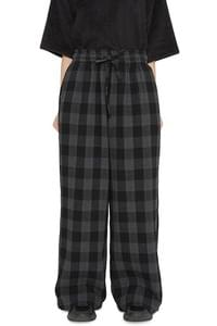 Nine check wide trousers