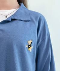 Bear Accent Collared Top