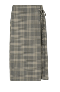 Widen check wrap maxi skirt