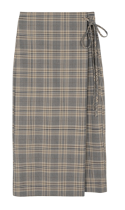 Widen check wrap maxi skirt 裙子