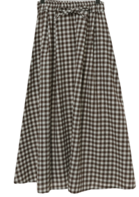 High Bang Check Banding Flare Long Skirt