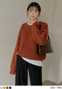 Ribbed Loose Knit Top