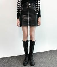 Leather mini belted skirt