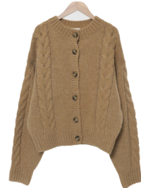 Mild Cable Wool Cardigan
